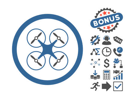 cobalt: Copter icon with bonus design elements. Vector illustration style is flat iconic bicolor symbols, cobalt and gray colors, white background.