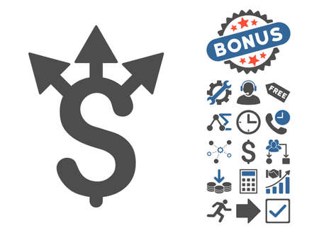 Expences icon with bonus pictogram. Vector illustration style is flat iconic bicolor symbols, cobalt and gray colors, white background. Illustration