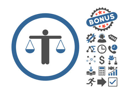 Lawyer icon with bonus symbols. Vector illustration style is flat iconic bicolor symbols, cobalt and gray colors, white background. Vector Illustration