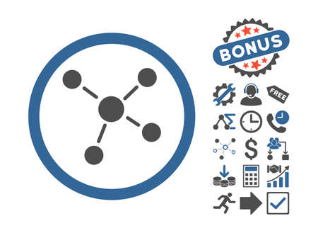 Links pictograph with bonus icon set. Vector illustration style is flat iconic bicolor symbols, cobalt and gray colors, white background.