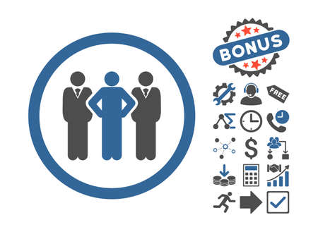 command: Team pictograph with bonus icon set. Vector illustration style is flat iconic bicolor symbols, cobalt and gray colors, white background.