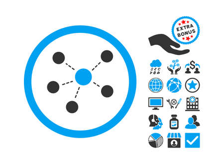 Connections icon with bonus symbols. Vector illustration style is flat iconic bicolor symbols, blue and gray colors, white background.
