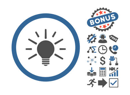 cobalt: Light Bulb icon with bonus elements. Vector illustration style is flat iconic bicolor symbols, cobalt and gray colors, white background.