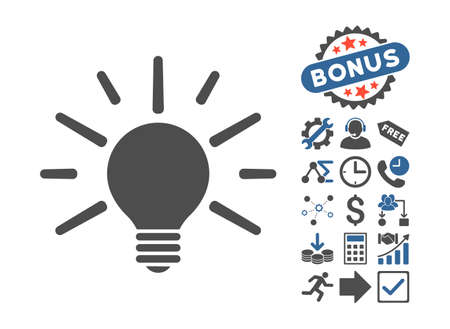 Light Bulb icon with bonus pictures. Vector illustration style is flat iconic bicolor symbols, cobalt and gray colors, white background. Illustration