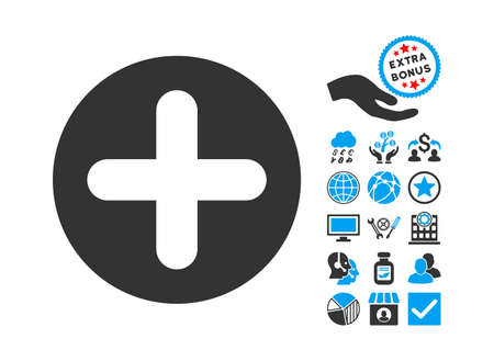 firstaid: Create pictograph with bonus symbols. Vector illustration style is flat iconic bicolor symbols, blue and gray colors, white background. Illustration