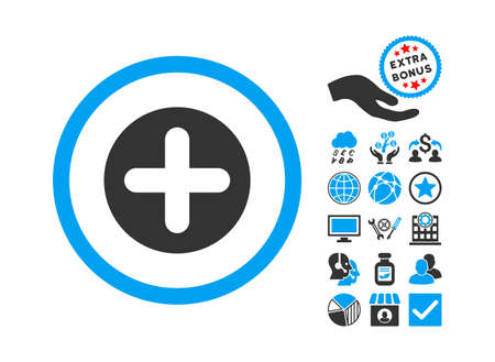 firstaid: Create icon with bonus clip art. Vector illustration style is flat iconic bicolor symbols, blue and gray colors, white background.
