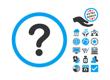 Question pictograph with bonus icon set. Vector illustration style is flat iconic bicolor symbols, blue and gray colors, white background.