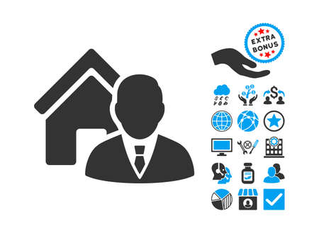 realtor: Realtor icon with bonus pictograph collection. Vector illustration style is flat iconic bicolor symbols, blue and gray colors, white background.
