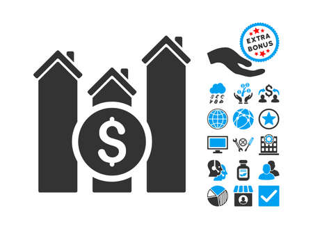 realty: Realty Price Charts icon with bonus symbols. Vector illustration style is flat iconic bicolor symbols, blue and gray colors, white background.