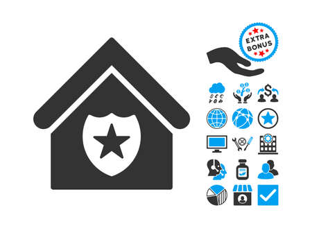prison house: Realty Protection pictograph with bonus clip art. Vector illustration style is flat iconic bicolor symbols, blue and gray colors, white background. Illustration