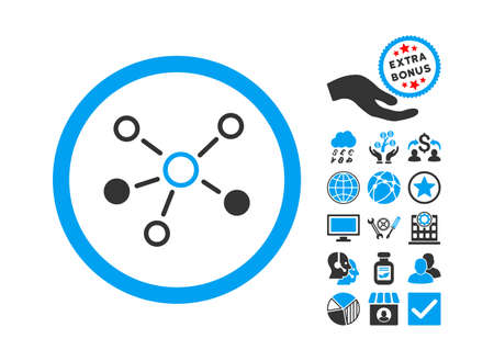 media distribution: Relations icon with bonus pictures. Vector illustration style is flat iconic bicolor symbols, blue and gray colors, white background. Illustration