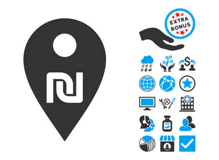 financial position: Shekel Map Marker pictograph with bonus elements. Vector illustration style is flat iconic bicolor symbols, blue and gray colors, white background.