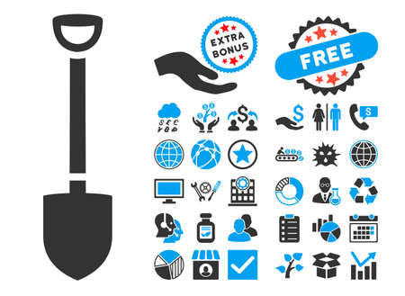 Shovel pictograph with bonus symbols. Vector illustration style is flat iconic bicolor symbols, blue and gray colors, white background. Illustration