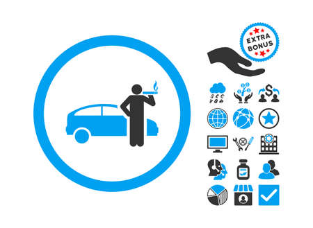 Smoking Taxi Driver pictograph with bonus design elements. Vector illustration style is flat iconic bicolor symbols, blue and gray colors, white background.