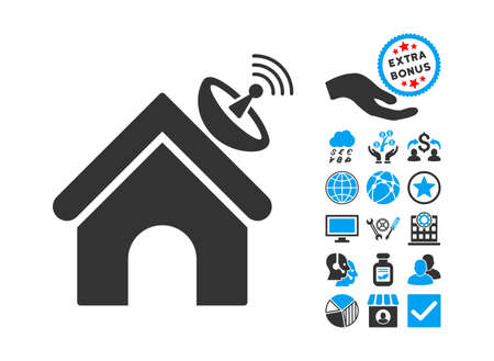 space antenna: Space Antenna Building icon with bonus design elements. Vector illustration style is flat iconic bicolor symbols, blue and gray colors, white background.