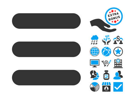numerate: Stack icon with bonus symbols. Vector illustration style is flat iconic bicolor symbols, blue and gray colors, white background.