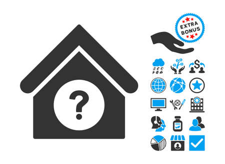 status icon: Status Building icon with bonus design elements. Vector illustration style is flat iconic bicolor symbols, blue and gray colors, white background. Illustration