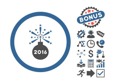 detonator: 2016 Fireworks Detonator pictograph with bonus clip art. Glyph illustration style is flat iconic bicolor symbols, cobalt and gray colors, white background.