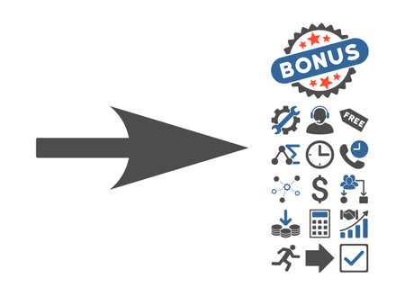 penetrating: Arrow Axis X pictograph with bonus clip art. Glyph illustration style is flat iconic bicolor symbols, cobalt and gray colors, white background.