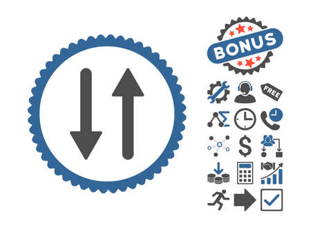 Arrows Exchange Vertical icon with bonus symbols. Glyph illustration style is flat iconic bicolor symbols, cobalt and gray colors, white background.