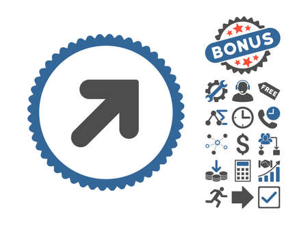 Arrow Up Right icon with bonus pictograph collection. Glyph illustration style is flat iconic bicolor symbols, cobalt and gray colors, white background.