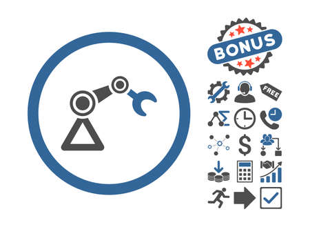 manipulator: Artificial Manipulator pictograph with bonus pictograph collection. Glyph illustration style is flat iconic bicolor symbols, cobalt and gray colors, white background. Stock Photo