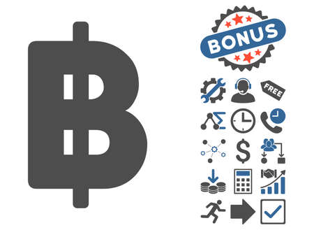Baht icon with bonus design elements. Glyph illustration style is flat iconic bicolor symbols, cobalt and gray colors, white background.