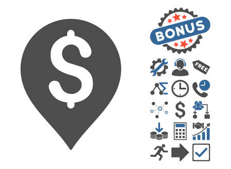 Bank Map Marker icon with bonus elements. Glyph illustration style is flat iconic bicolor symbols, cobalt and gray colors, white background.
