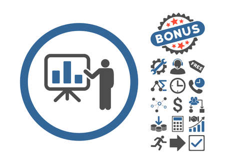 Bar Chart Presentation icon with bonus design elements. Glyph illustration style is flat iconic bicolor symbols, cobalt and gray colors, white background.