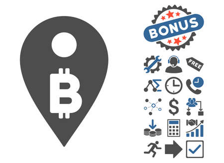Bitcoin Map Marker icon with bonus elements. Glyph illustration style is flat iconic bicolor symbols, cobalt and gray colors, white background.
