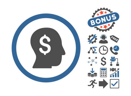 moneymaker: Businessman pictograph with bonus pictogram. Glyph illustration style is flat iconic bicolor symbols, cobalt and gray colors, white background. Stock Photo