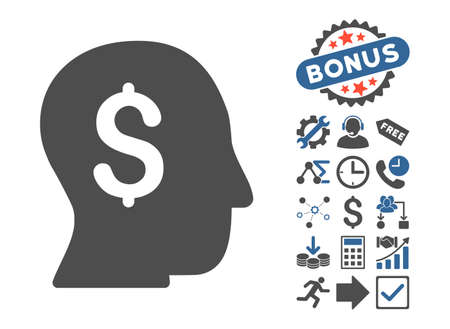 moneymaker: Businessman icon with bonus icon set. Glyph illustration style is flat iconic bicolor symbols, cobalt and gray colors, white background.