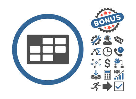 dataset: Calendar Table icon with bonus clip art. Glyph illustration style is flat iconic bicolor symbols, cobalt and gray colors, white background.