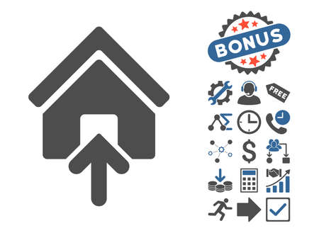 Building Entrance pictograph with bonus pictures. Glyph illustration style is flat iconic bicolor symbols, cobalt and gray colors, white background. Stock Photo
