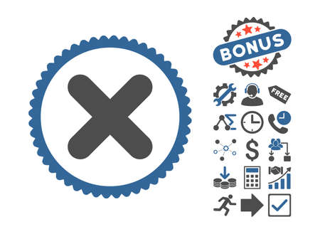 Cancel pictograph with bonus pictograph collection. Glyph illustration style is flat iconic bicolor symbols, cobalt and gray colors, white background. Stock Photo
