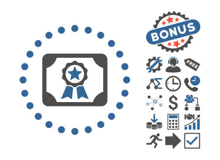 attest: Certificate icon with bonus symbols. Glyph illustration style is flat iconic bicolor symbols, cobalt and gray colors, white background.