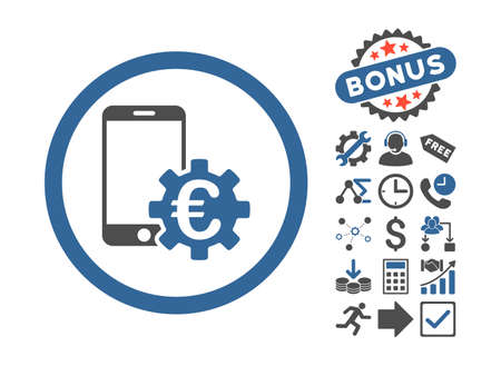 configure: Configure Mobile Euro Bank icon with bonus pictogram. Glyph illustration style is flat iconic bicolor symbols, cobalt and gray colors, white background. Stock Photo
