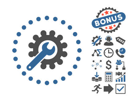customization: Customization pictograph with bonus pictogram. Glyph illustration style is flat iconic bicolor symbols, cobalt and gray colors, white background. Stock Photo