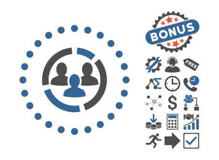 demografia: Diagrama icono de la demografía con imágenes de bonificación. estilo de ilustración glifo es plana símbolos icónicos bicolor, el cobalto y los tonos de gris, fondo blanco.