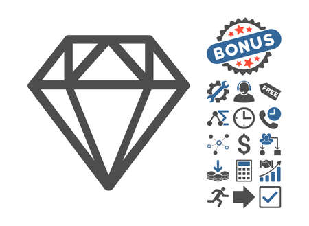 Diamond pictograph with bonus pictures. Glyph illustration style is flat iconic bicolor symbols, cobalt and gray colors, white background.