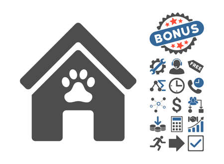 doghouse: Doghouse icon with bonus elements. Glyph illustration style is flat iconic bicolor symbols, cobalt and gray colors, white background.