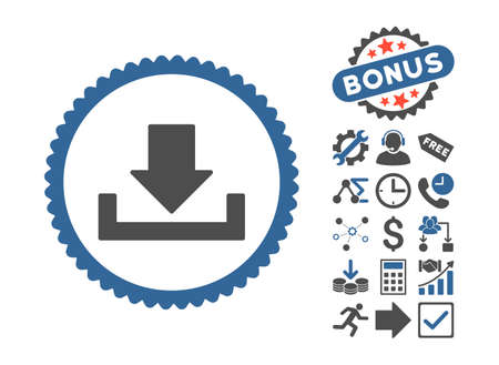 Download icon with bonus pictogram. Glyph illustration style is flat iconic bicolor symbols, cobalt and gray colors, white background. Stock Photo