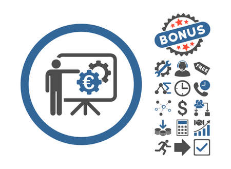 presentaion: Euro Business Project Presentation icon with bonus symbols. Glyph illustration style is flat iconic bicolor symbols, cobalt and gray colors, white background.