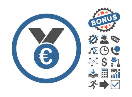 Euro Prize Medal pictograph with bonus images. Glyph illustration style is flat iconic bicolor symbols, cobalt and gray colors, white background.