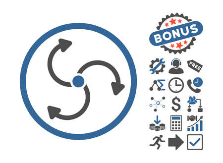 revolve: Fan Rotation icon with bonus pictograph collection. Glyph illustration style is flat iconic bicolor symbols, cobalt and gray colors, white background.