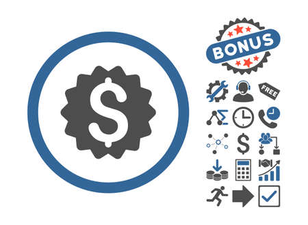 financial reward: Financial Reward Seal icon with bonus elements. Glyph illustration style is flat iconic bicolor symbols, cobalt and gray colors, white background.