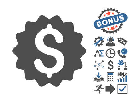 financial reward: Financial Reward Seal pictograph with bonus pictograph collection. Glyph illustration style is flat iconic bicolor symbols, cobalt and gray colors, white background.
