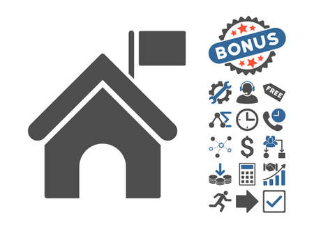 govern: Government Building icon with bonus elements. Glyph illustration style is flat iconic bicolor symbols, cobalt and gray colors, white background.