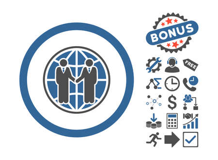 global partnership: Global Partnership pictograph with bonus images. Glyph illustration style is flat iconic bicolor symbols, cobalt and gray colors, white background.