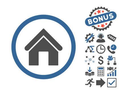 Home icon with bonus pictograph collection. Glyph illustration style is flat iconic bicolor symbols, cobalt and gray colors, white background. Stock Photo